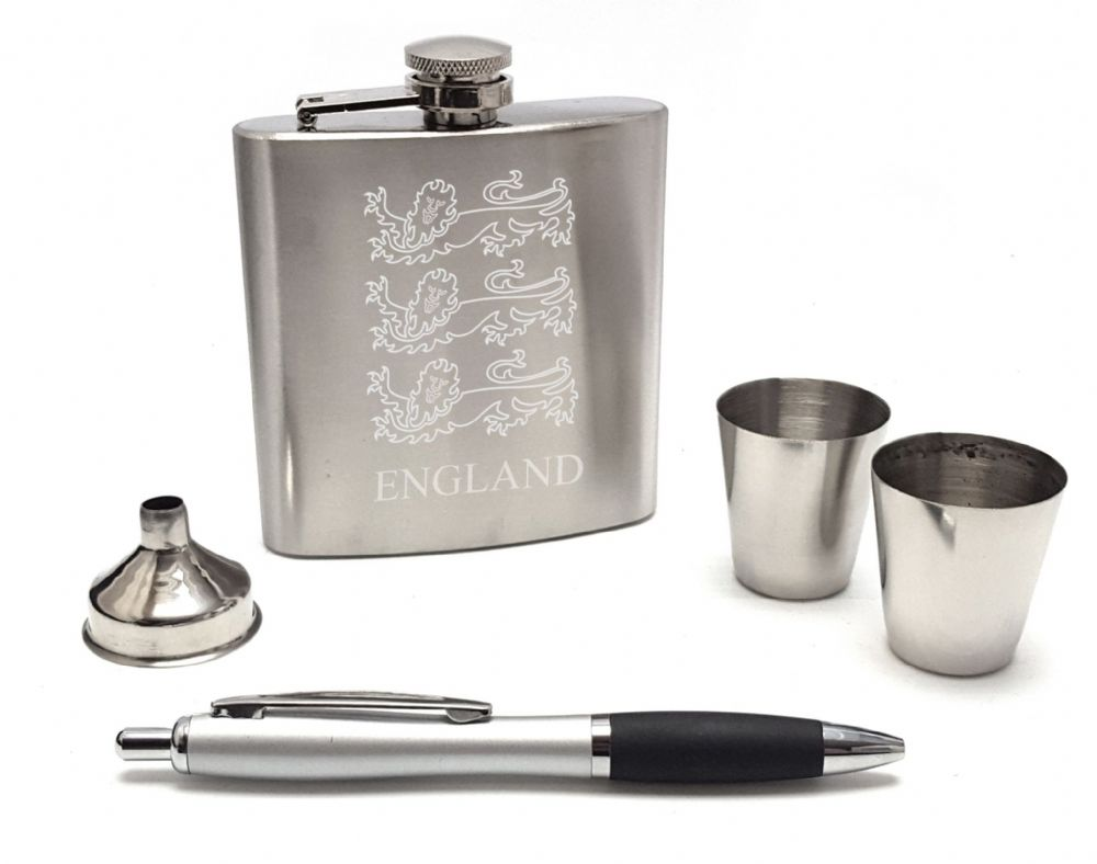 England Lions Hip Flask Gift Set   Cups & Pen Mens Football Rugby  Can Personalise